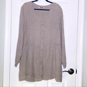 Flax Linen Button Front Tunic